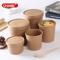 Paper microwavable food hot soup bowls, kraft paper soup cup for soup packaging