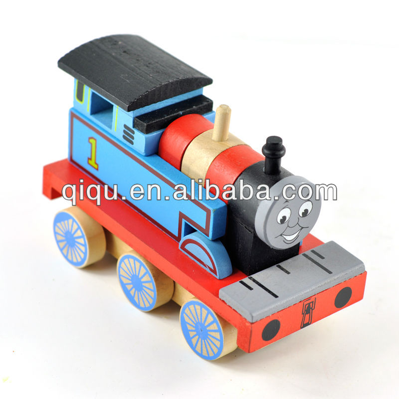 Hot sale wooden building block thomas locomotive toy for children