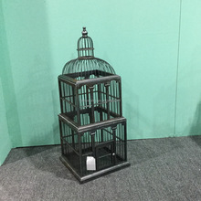 Rustic Metal Color Bamboo Wood Bird Cage