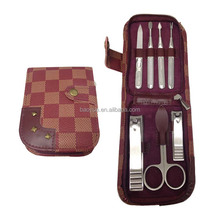 2016 RIVET DECORATING PU LEATHER ZIPPER BAG MANICRE SET/ 7PCS STAINLESS STEEL MANICURE SET