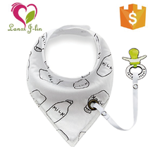 Useful and New Design 100% Cotton Baby Bandana Drool Bib With Soother Chain