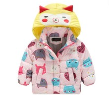 Girl Winter Cute Cartoon Printed Boy Coat Children's Clothing Warm Trench Thickening Kids