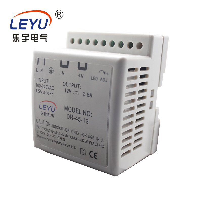 Electronic led driver 24v 45w DIN Rail series CE RoHS approved DR-45 single output power supply