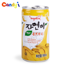 No artificial colors180ml canned banana fruit flavor milk drink