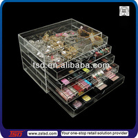 TSD-A014 factory supply fashion home use 5 tiers clear acrylic jewelry organizer,lipstick organizer,make up organizer acrylic