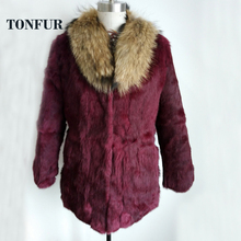 Whole Skin Low Price High Quality Real Rabbit Fur Coat With Raccoon Fur Collar