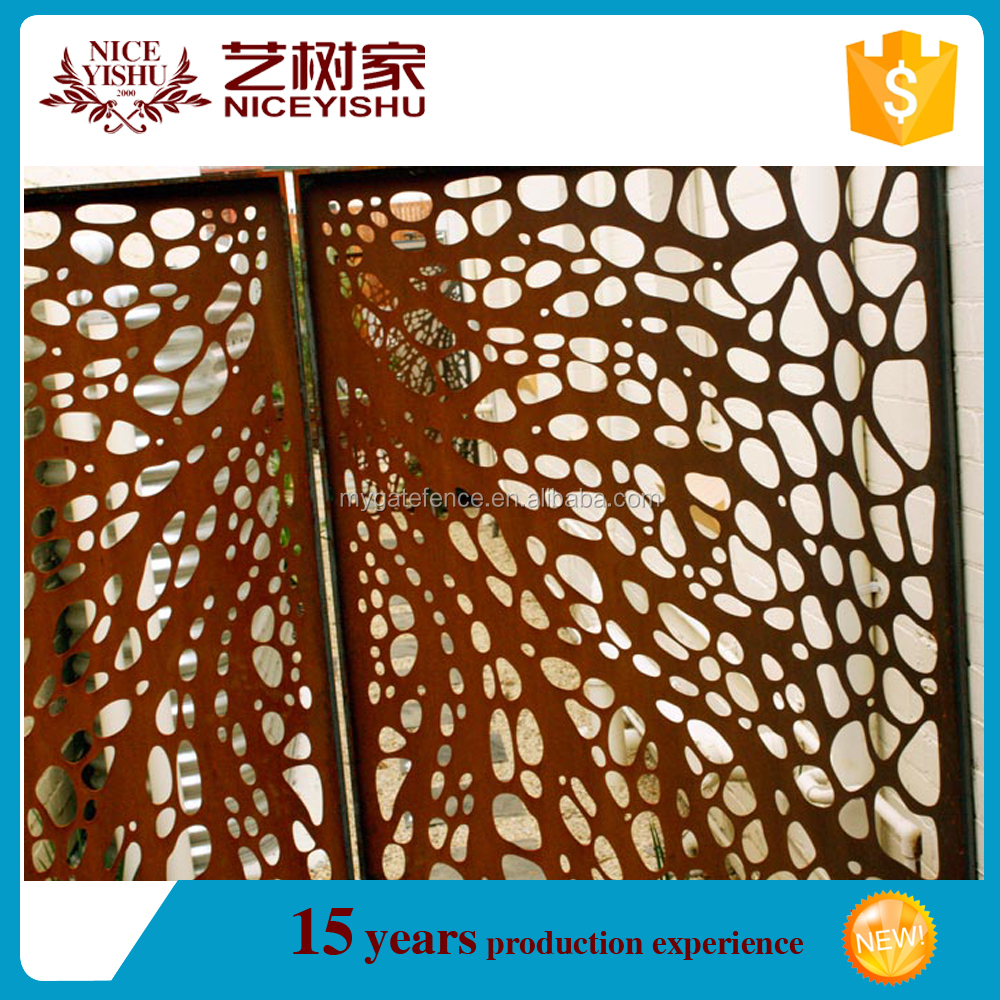 cheap single sliding pedestrian laser cut gates /wrought iron driveway gate / aluminum fencing