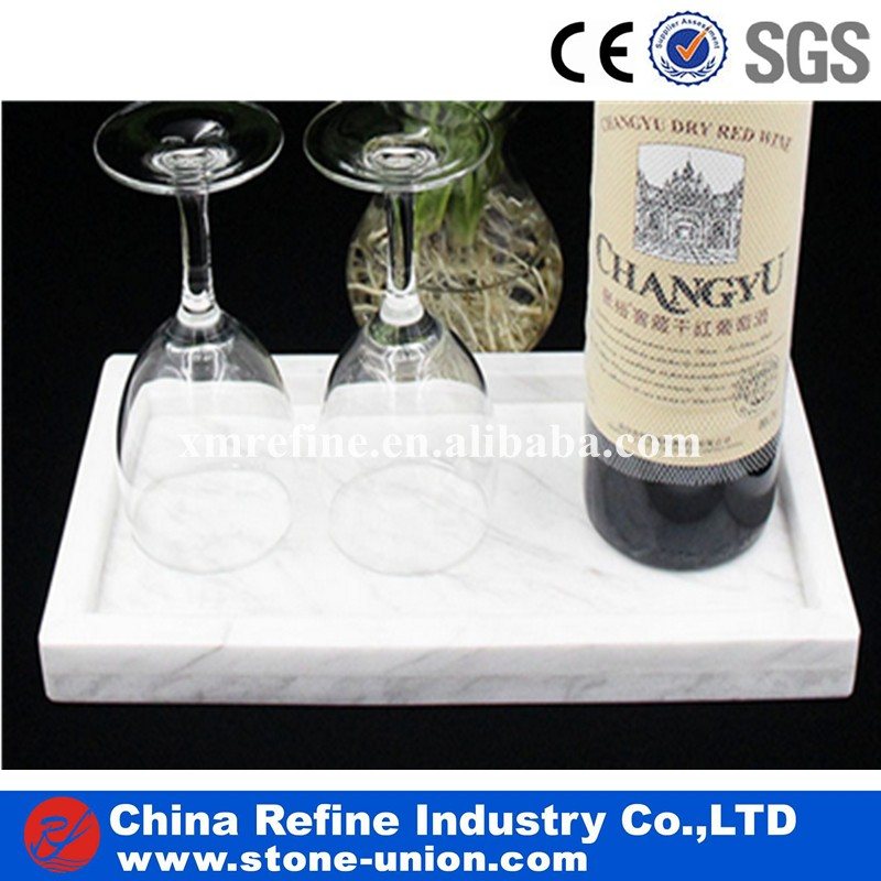 White Marble Wine and Food Serving Dinner Plates Natural Stone Tea Tray