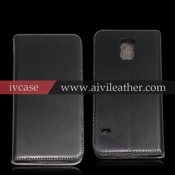 Wallet genuine leather case for Samsung galaxy s5 active , smart cover case for samsung galaxy s5