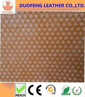 100% pu embossed synthetic woven leather fabric