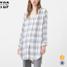 Hot sale fashionable soft loose big size check lady blouse designs