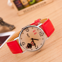 LOVE rabbit ear Duo Mifei tinted glass leather strap watches watches student casual fashion watch