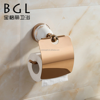 Fresh design Zinc alloy and Ceramic bathroom accessories Wall mounted Gold finishing Paper holder-11733