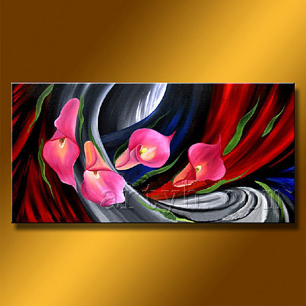 Modern Home Decor Flower Oil Painting, Flower Wall Art, Flower Art Panel