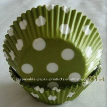 Wholesale GREEN POLKA DOTS CUPCAKE CASES/CAKE/MUFFIN/LINERS