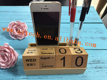 Multi-functional Wooden Office Desk Pen Phone Holder ,Wood Calendar Holder Office Accessories