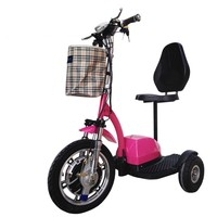 Three wheel comfortable electric scooter with rubber seat 2016 hot india electric tricycle tandem tricycle for adults auto MAG