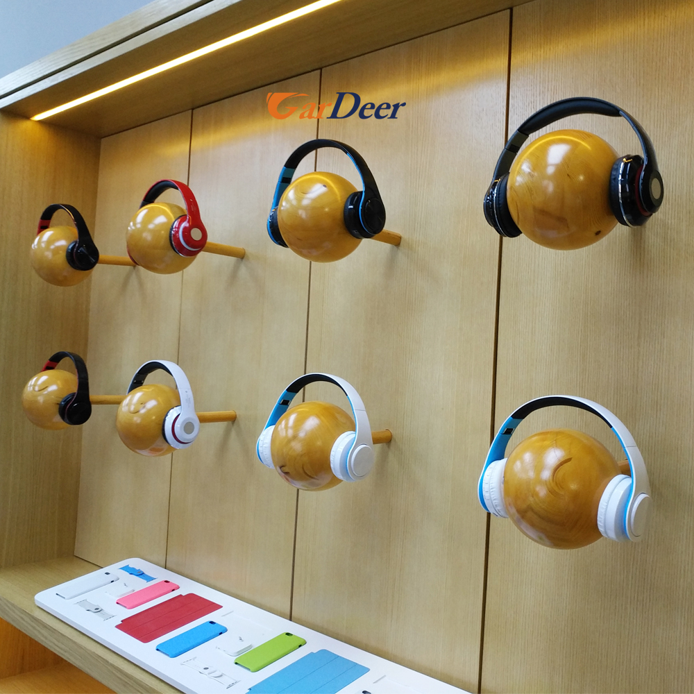 Factory customized fashion wall wood headphone display showcase for apple store experience