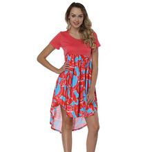 Lover-Beauty Fashion Casual Front Short Back Long Fancy African Print Summer Dress