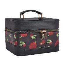 New High Capacity Women Bags Rose Printing Cosmetic Cases Make Up Box Professional Makeup Bag