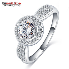LZESHINE Om White Diamond Round Zircon Ring Core CRI0298