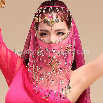 BestDance Sexy Mysterious Lady Belly Dance Dancing Face Veil Voile Sequin Bead Wrap Scarf