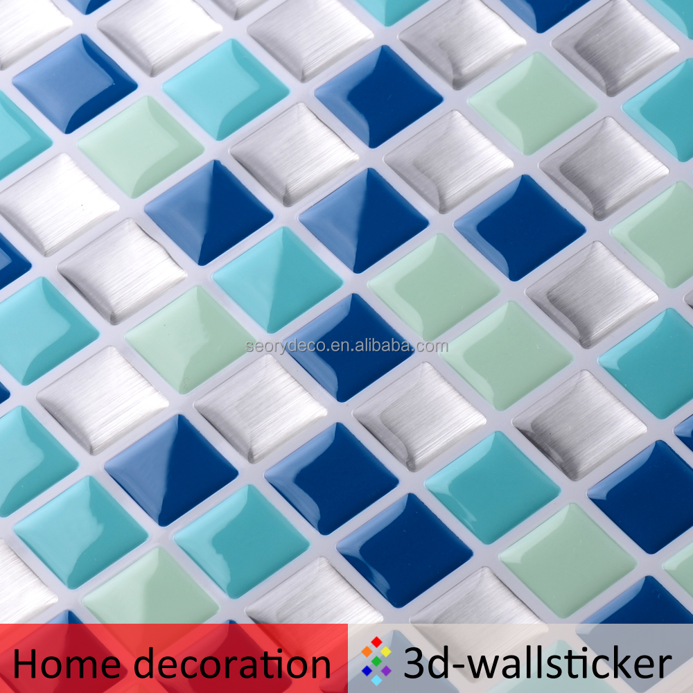 3D glass like peel and stick tile to cover rough <strong>wall</strong>