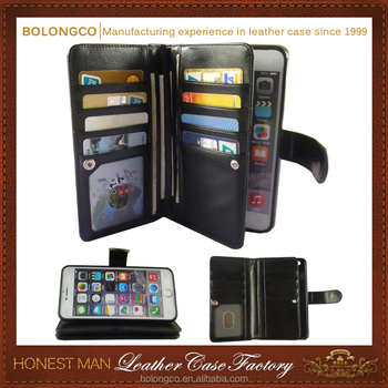 Multi-functional leather wallet phone pouch for iphone 6 plus custom stylish leather 5.5 inch wallet phone case wholesale