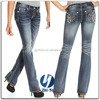 China jeans factory made bootcut jeans for women
