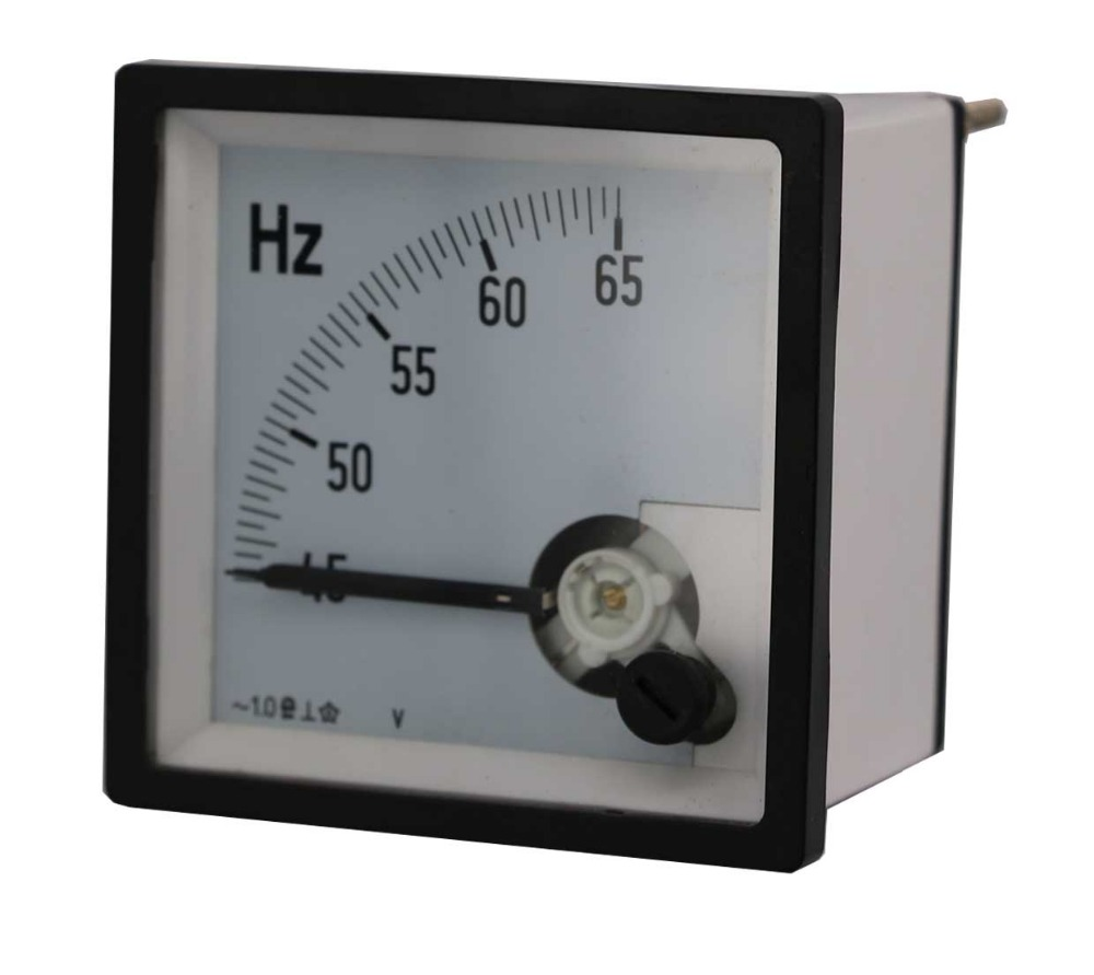 Factory Price Moving coil type Square panel meter analog frequency Hz meter 72*72mm 45Hz~65Hz