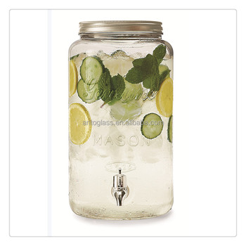 1.7Gal Glass Mason Beverage Jar Glass Drink Dispenser