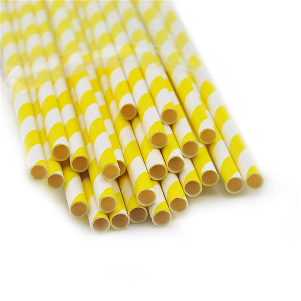 hot selling 19.7*0.6cm colors birthday party decorative neon drinking stripped paper straws