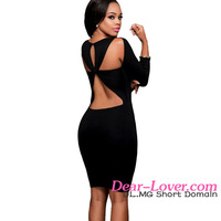 Autumn Dress Wholesale 2016 Sexy Black Cut out Back Long Sleeves Bodycon Dress