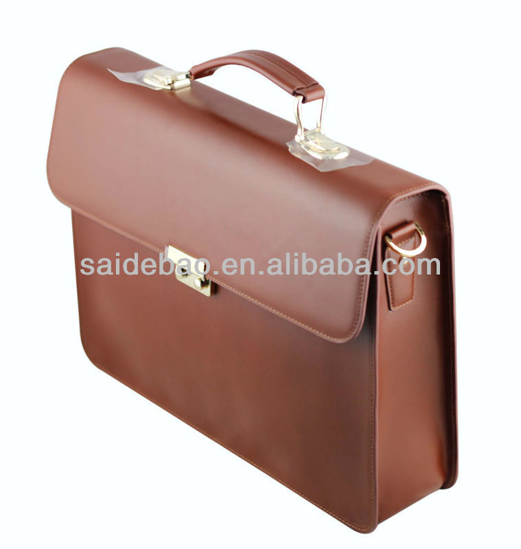 High Quality PU / Genuine Leather Brown Handle Briefcase Bags with Metal Logo