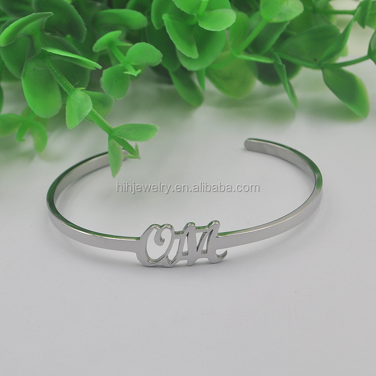 stainless steel bracelet write name simple 3mm thin cuff alphabet bracelet