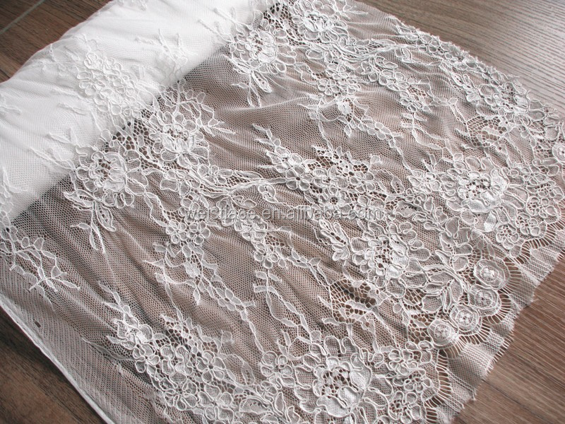 2015 24.New arrival style high quality lace romantic designs chantilly eyelash lace bonded french lace fabric for Wedding Dress