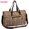 2017 Hot sale nylon ladies foldable fashion waterproof duffel bag big korean leopard print travel bag with custom logo