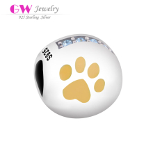 D010 silver dog paw printing logo beads charm for bracelet