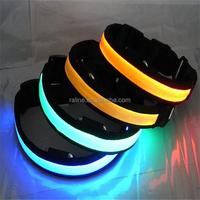 factory supply Adjustable Collar Waterproof LED Glowing flashing Pet Dog Collars retractable dog leash TB001