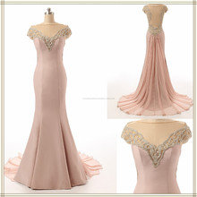 2017 bất prom evening dress Off-vai Cap Sleeve Backless Satin và Voan Mermaid Dress Prom ZS15-07