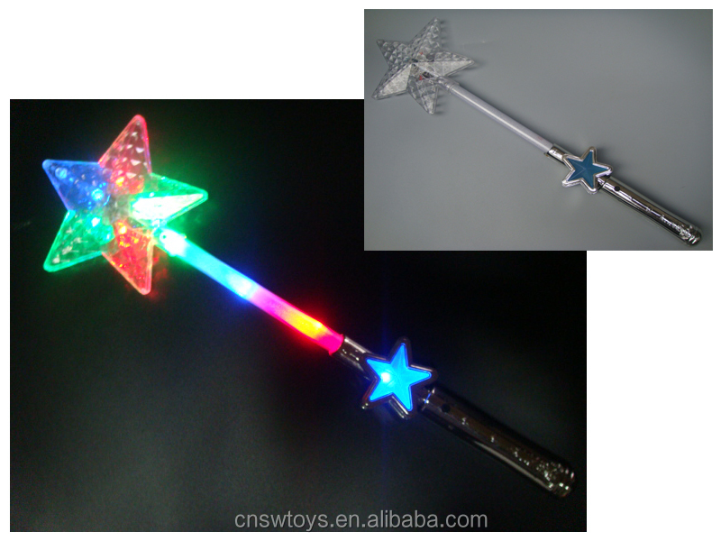 DD0715495 Cheap fancy kids toys Five-pointed star flashing toy stick grow including 4 AG13 batteries