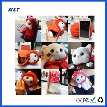KLT Animal Fur Bunny Cute Plush Toys 360 Rotation Holder for iPhone Phone case Support Cotton Cat Pikachu Hippo Bear Lovely Gift