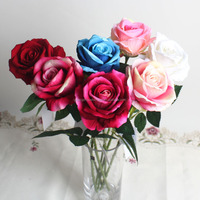 SJ11001210 Single real touch rose vintage silk flowers rose