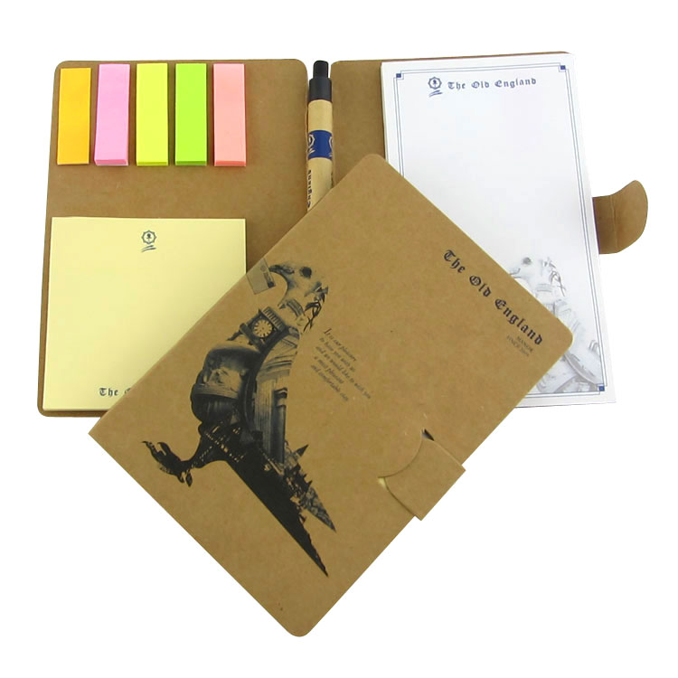 Eco ballpen custom cover printing sticky index sticky notepad book  Red/black/kraft paper cover Sticky memo pad