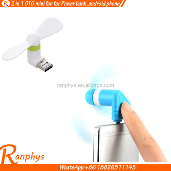 Ranphys custom logo otg mobile phone fan portable travle super usb mini fan for android phone,power bank