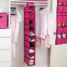 Candy color fabric 10 shelves hanging closet organizer for shoes clothes foldable storage hamper