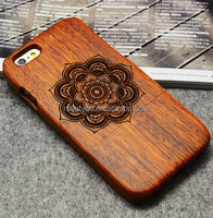 Laser engrave carved wood cases vitage mandala shape custom cell phone wooden cases for iphone 6 plus 6S plus 5.5''