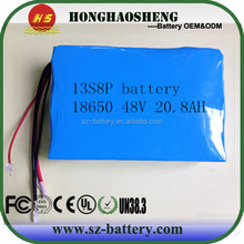 UK/ USA popular can be csutomize battery 13s 10p 18650 48v 20ah li-ion battery pack 48v 20a electric scooter battery