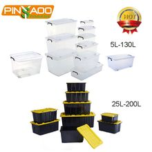 Multipurpose 50L clear plastic storage box with lids