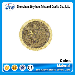 Custom metal stamping coin gold plated dragon shaped coin China new year souvenir coin